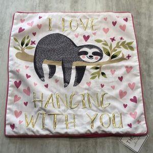 NWT THRO by Mario Lorenz Sloth Pillow Cover